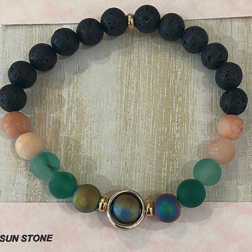 Lava and Sun Stone Gem Bracelet