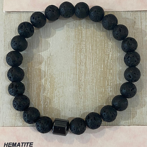 Lava with Hematite Bead Gem Bracelet