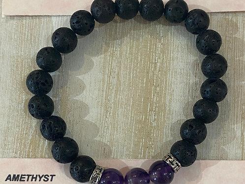 Lava with Amethyst Beads Gem Bracelet