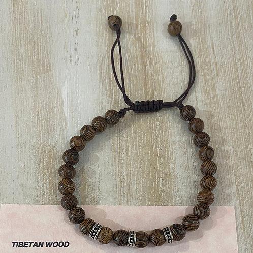 Tibetan Wood Gem Bracelet