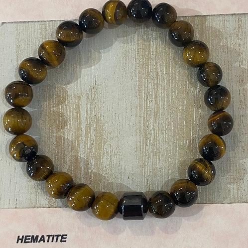 Labradorite with Hematite Bead Gem Bracelet