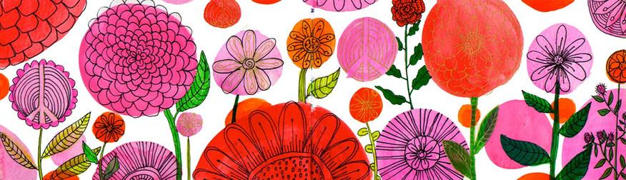 Fuschia Flower Pattern
