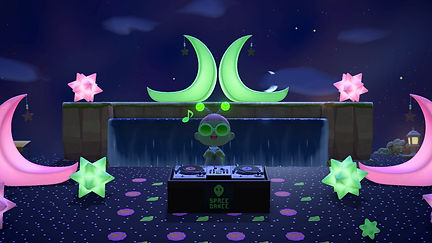 A screenshot from Animal Crossing: New Horizons. NIUBOI's avatar (a green transmasc human) is dressed in green and standing behind a DJ's turntable. They are surrounded by pink and green moons and stars. They are in a Glee reaction.