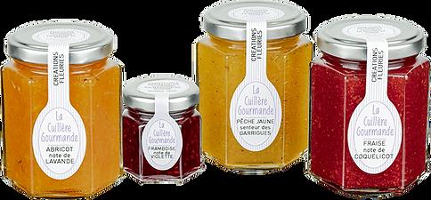 Confitures artisanales créations fleuries La Cuillère Gourmande