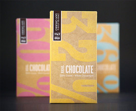 Screen printing gives the chocolate a small batch, quality feel. The natural paper reinforces the natural, no addiditive ingredients.