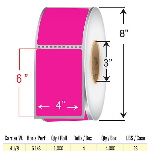 """4"""" x  6"""" FLOU PINK Thermal Transfer Roll"""