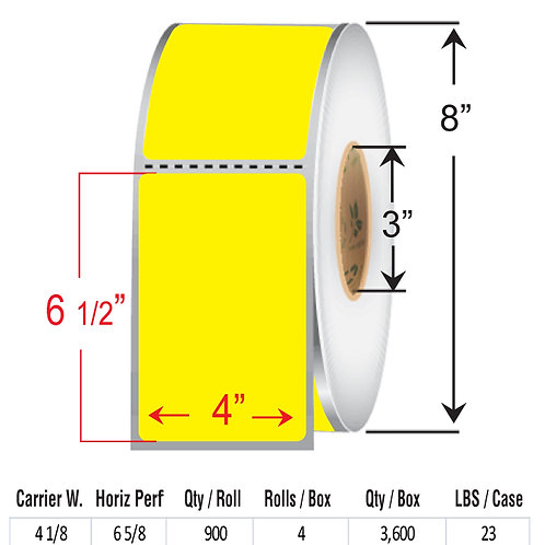 "4"" x  6.5"" YELL Thermal Transfer Roll"
