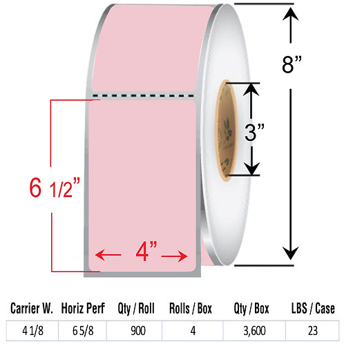 "4"" x  6.5"" PINK Thermal Transfer Roll"