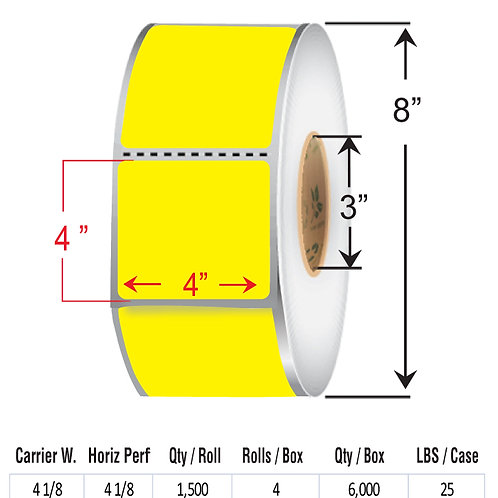 """4"""" x  4"""" YELLOW Thermal Transfer Roll"""
