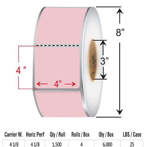 """4"""" x  4"""" PINK Thermal Transfer Roll"""