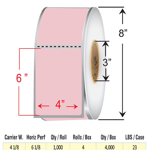 """4"""" x  6"""" PINK Thermal Transfer Roll"""