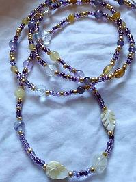 purple, gemstones, waist beads, waist adornments, waist, crystals, intuition