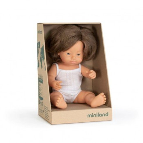 Miniland Doll | Anatomically Correct Baby Caucasian Girl with Down Syndrome 38cm