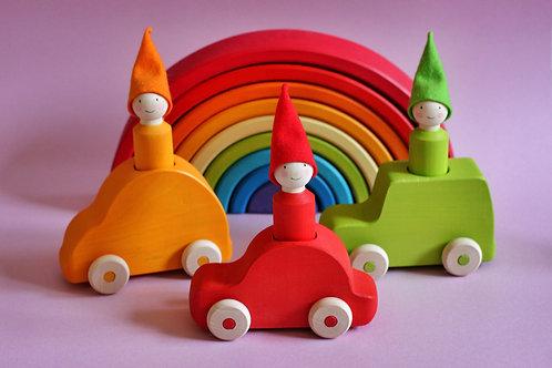 Skandico   3 Peg Dolls & Cars - Bright