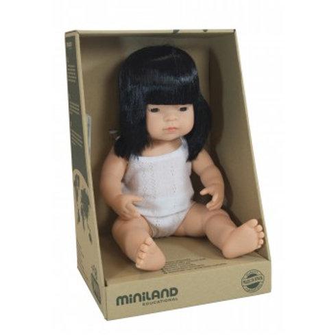 Miniland Doll | Anatomically Correct Baby, Asian Girl, 38 cm