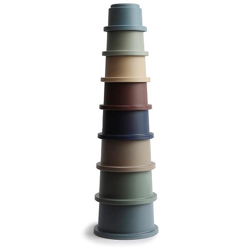 Mushie Stacking Cups Toy   Made in Denmark (Forest)