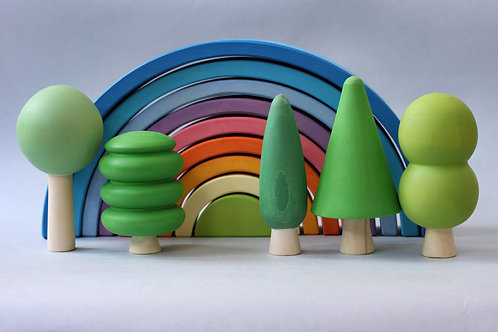 Skandico | Wooden Green Forest Tree Set
