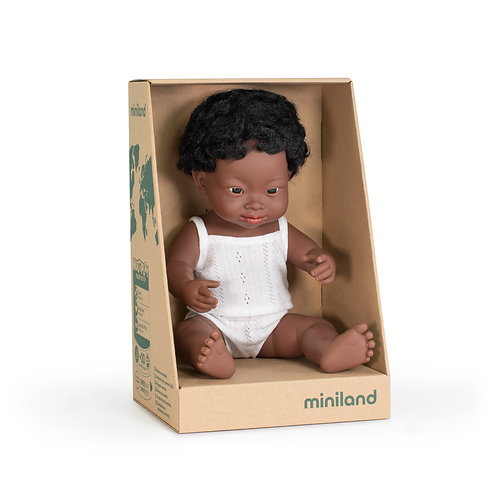 Miniland Doll | Anatomically Correct Baby, African Boy With Down Syndrome 38cm