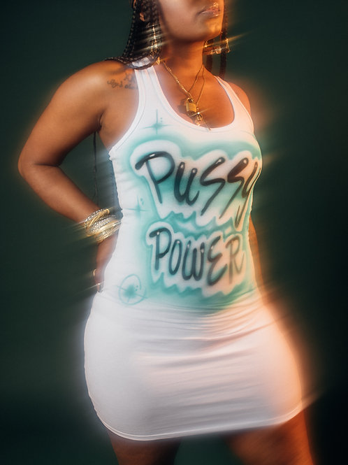 Pussy Power Airbrush Dress (Teal)