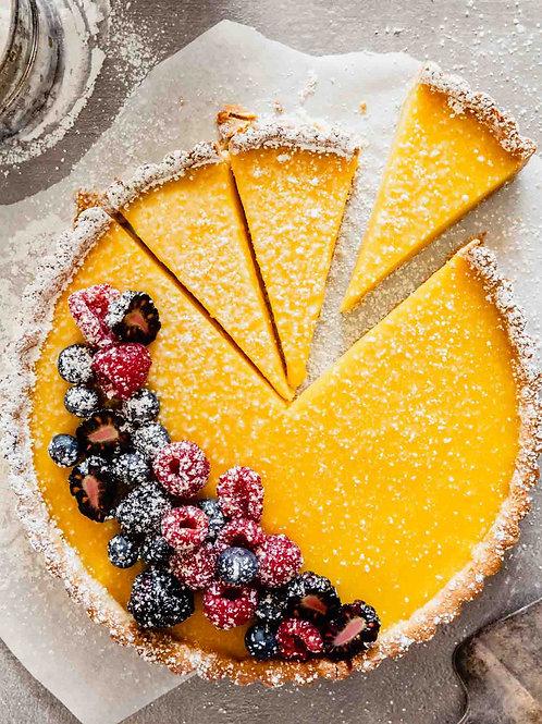 Caramelized lemon tart with raspberry sorbet