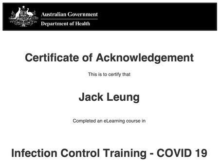 Infection Control Training - COVID 19