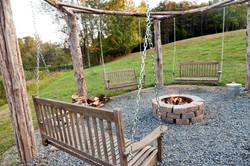 Hand hewn cedar swinging firepit