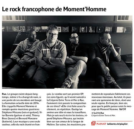 Article dans le quotidien La Liberté, Moment'Homme