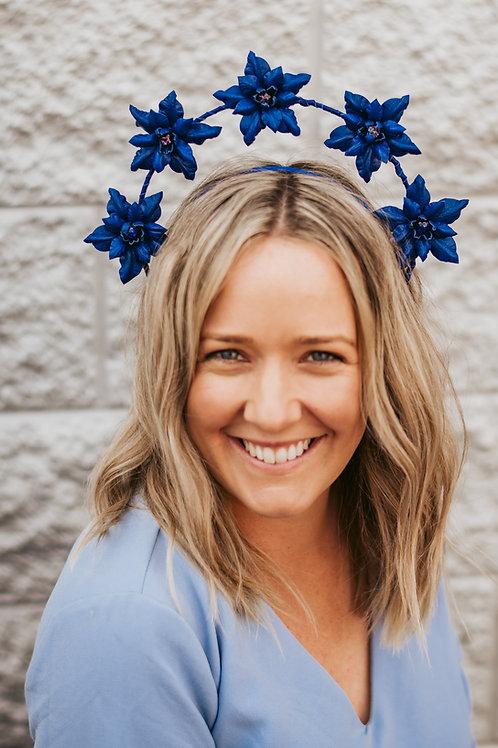 Royal Blue Leather Flower Crown