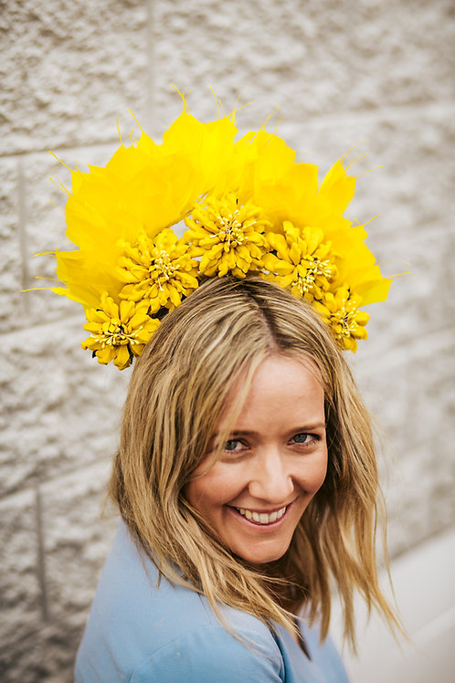 Yellow Leather Flower crown with Feathers