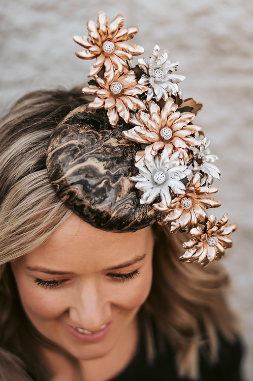 Acrylic Pour Button Headpiece with Rose Gold and Silver Leather Flowers