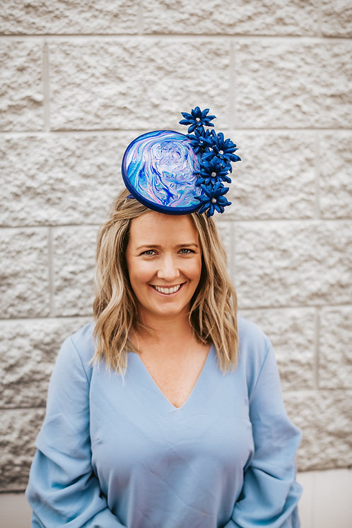Acrylic Pour Royal Blue Percher with Leather Flowers