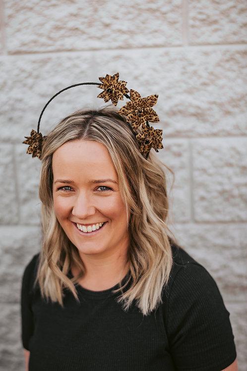 Leopard Print Leather Flower Crown