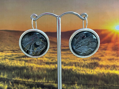 Acrylic Pour Earrings Silver and Black Design