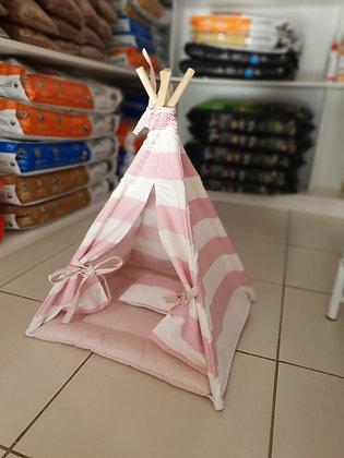 Caminha pet rosa em formato de toca