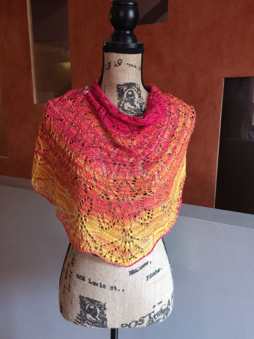 Golden Orchids Shawl, knit with The Unique Sheep Marici in Yarrow