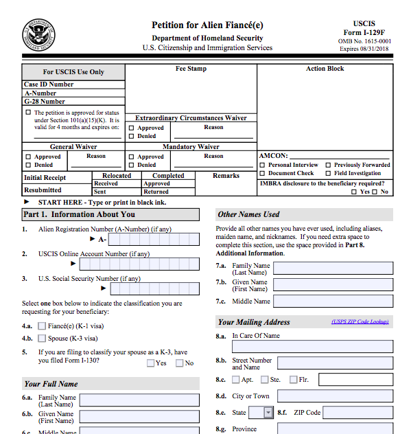 How To File The K1 Visa Petition Form I 129f And Supporting
