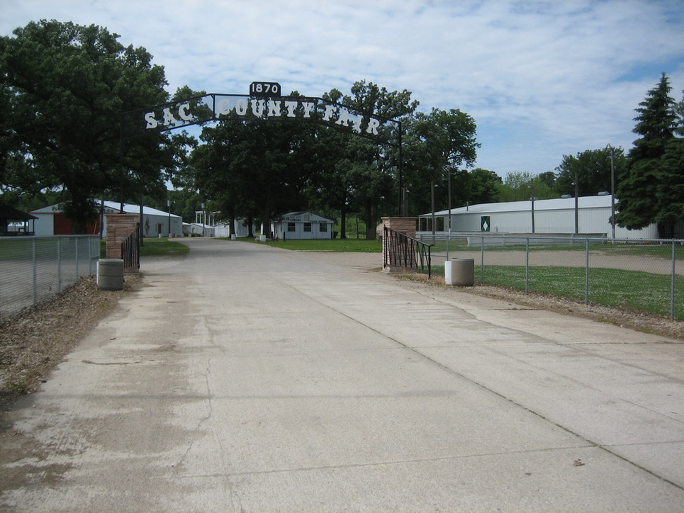 This is the entrance to the Sac County fairgrounds. Bert ran an ice cream stand here with a friend the year he graduated high school. The fairgrounds featured a 1/2mi dirt track used for horse racing, and eventually, auto racing. Cars could reach speeds of 60mph. The track was also used for high school meets, but could get pretty muddy at times. (Bert ran a half-mile race here in high school.)