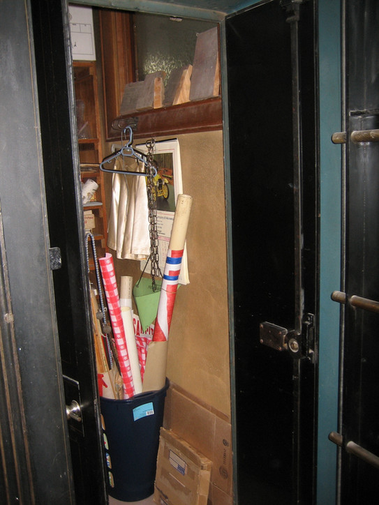 Inside the safe, now used as a storage closet for the museum. Note the window near the top of the photo. This is for the rest room located right beside the safe and was installed when the building was built! I guess they believed that even a robber wouldn't stoop that low.