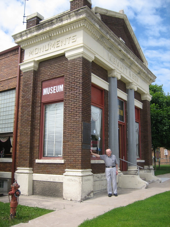 Wooster Bertram 'Bert' Wayt outside his grandfather's monument company which is now the Sac City Museum, June 11, 2009.