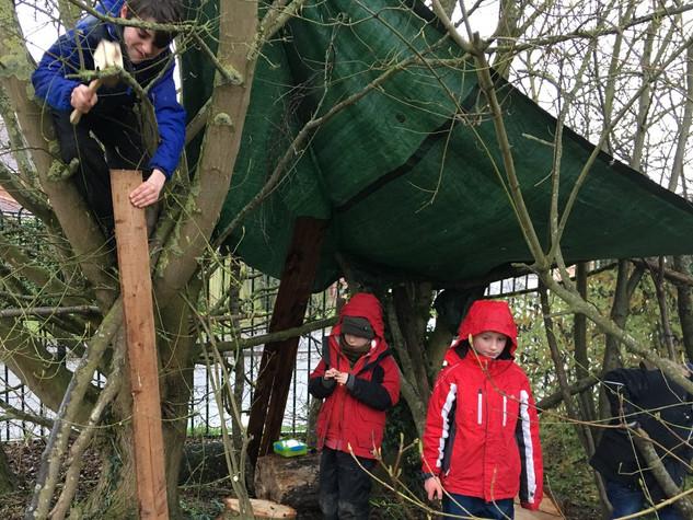 Adding a door frame to the den!
