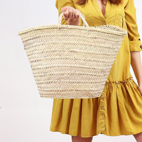 Straw Market Basket Bag - Straw Handles