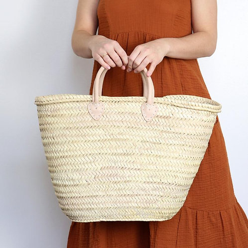 Straw bag with Short Natural Leather Handles