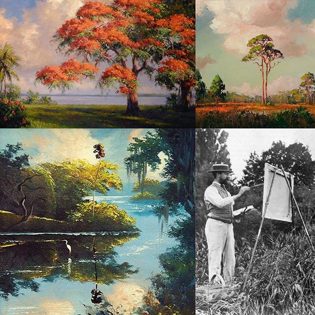From top left to bottom left images of Florida Highwaymen Artists and Beanie Backus and John Singer Sargent