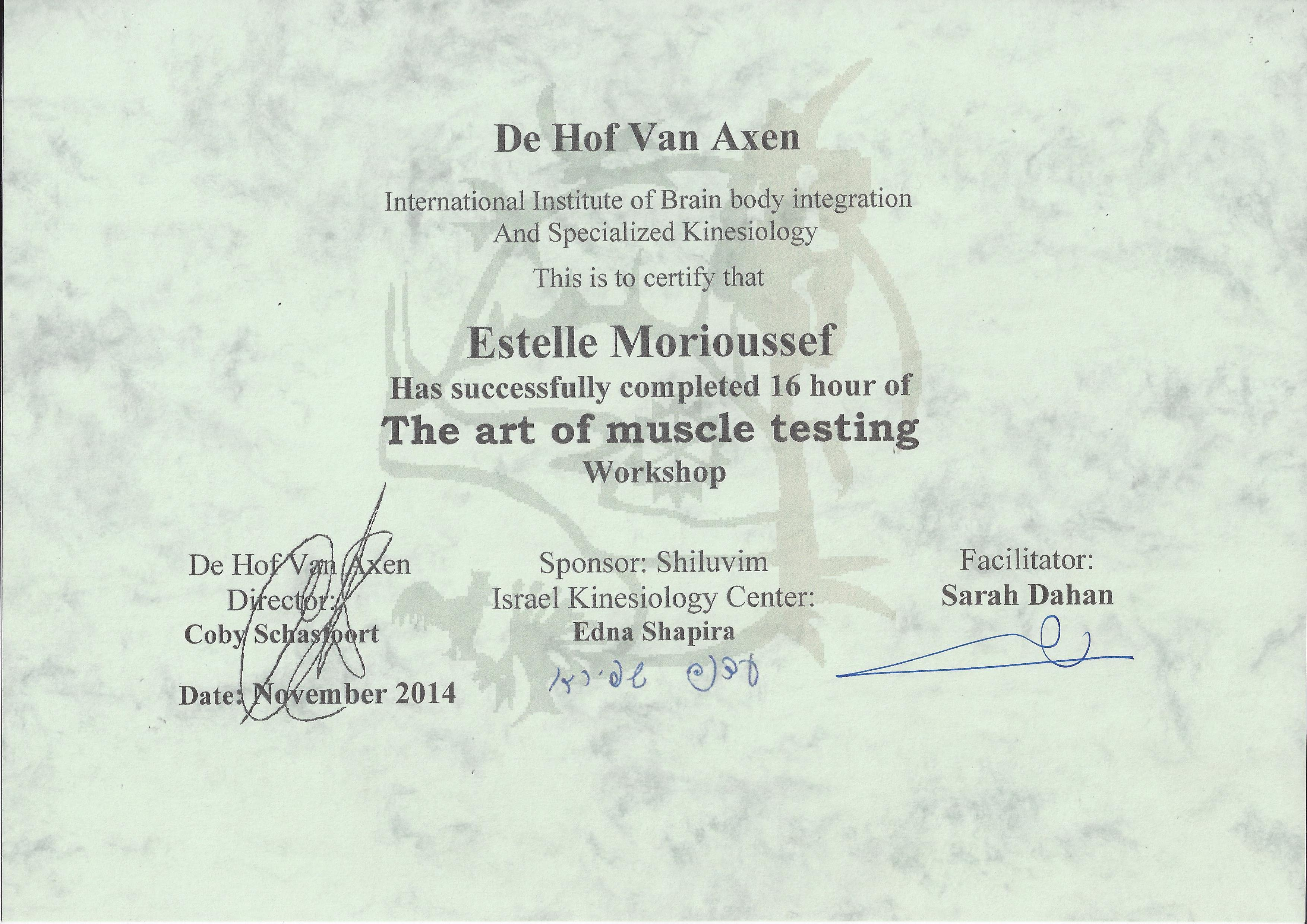 test musculaire diplome