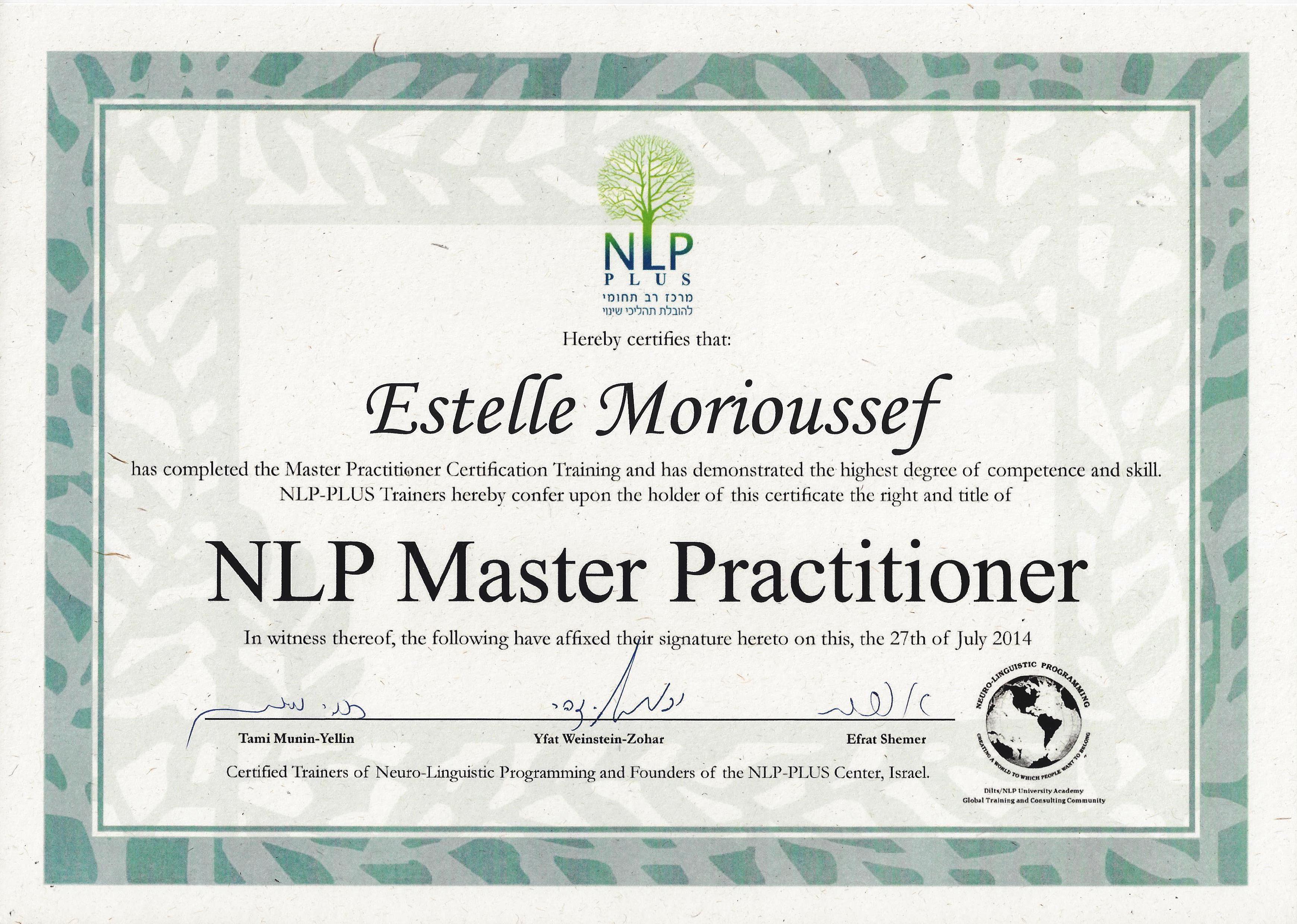 Master NLP PLUS diplome