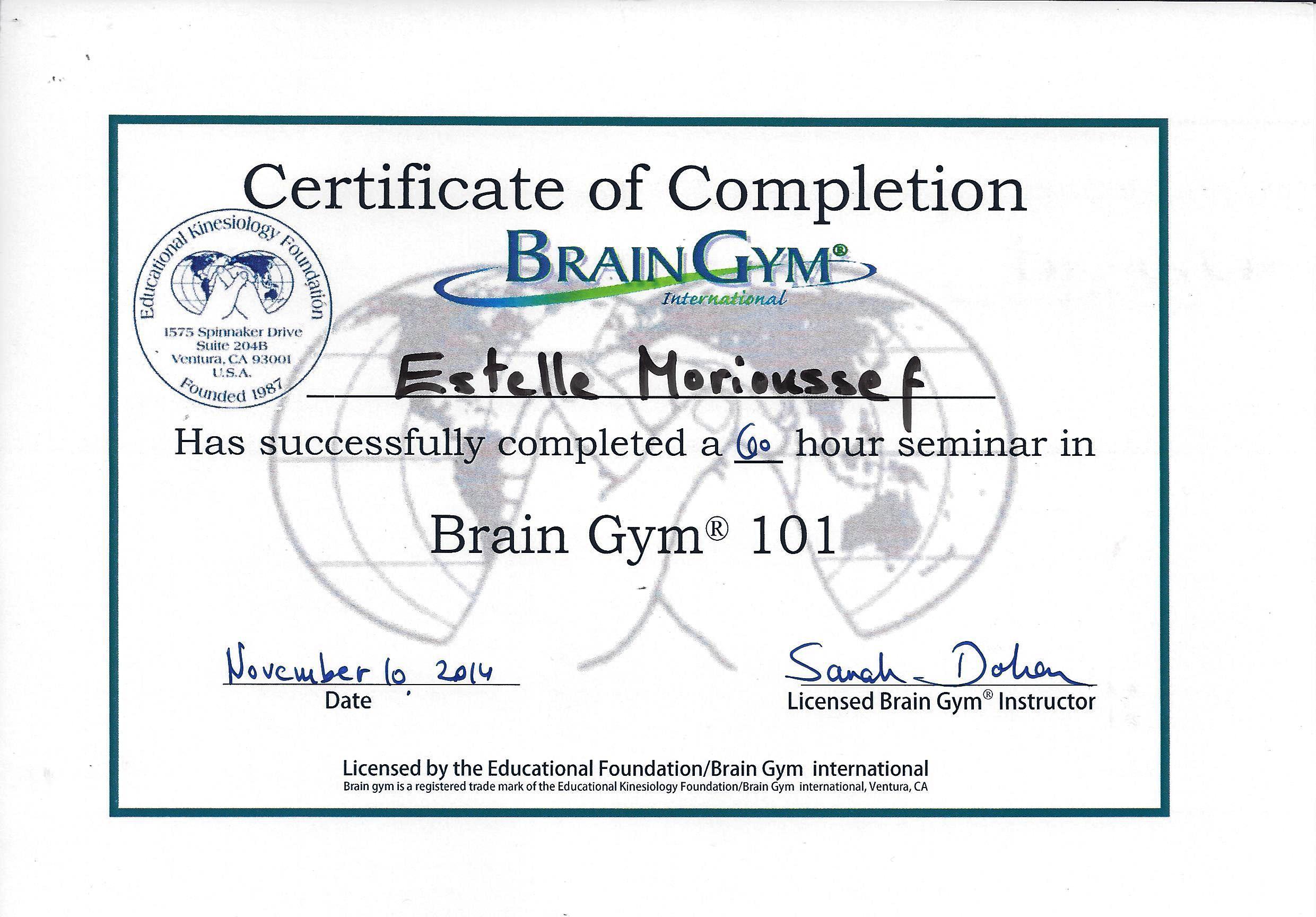 brain gym diplome