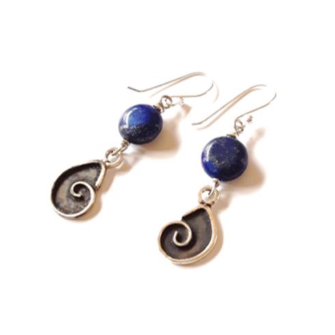 Aretes espiral de lapislázuli