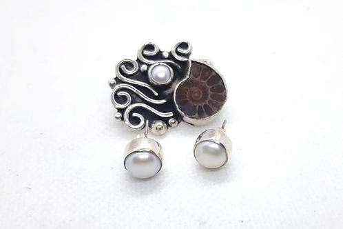 Juego de amonita perlas