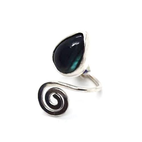 Mini anillo espiral de labradorita azul