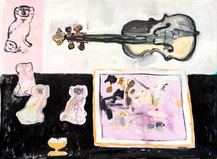 Still Life With Violin and Four Dogs